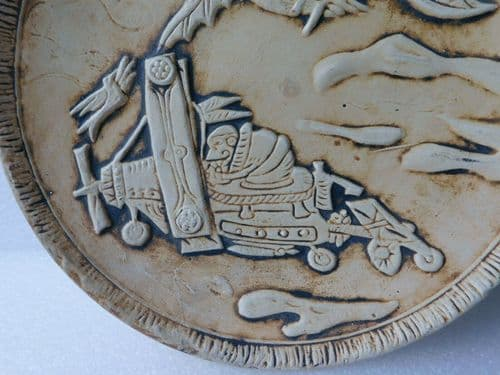 Spanish pottery plate Flying machine Bird-man wall plaque Carmen Funny picture